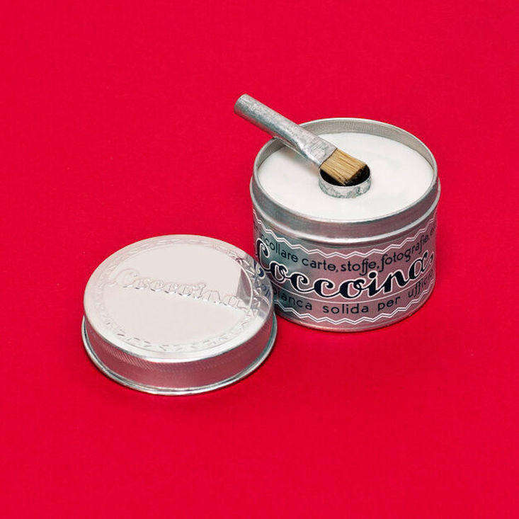 Ideal for use on paper, clothing, photographs, and labels, the non-toxic Coccoina Almond Glue ($7) comes in an aluminum tin, unchanged since the s. In the middle is a cylinder for holding a brush.