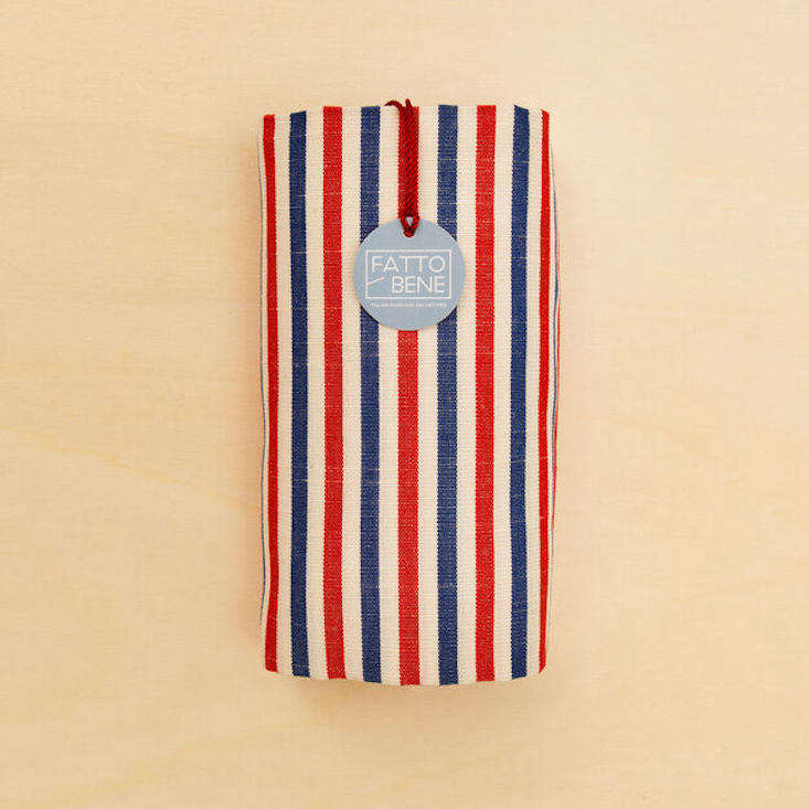 The linen and cotton Traditional Striped Towel is available in three colorways; $loading=