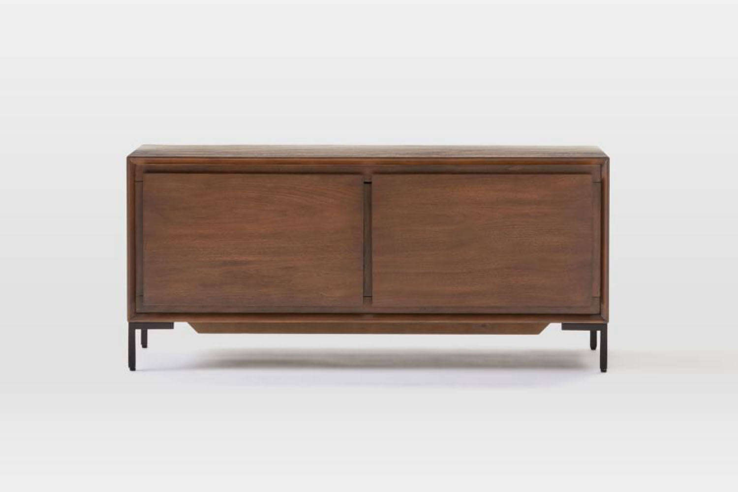 The West Elm Nolan Collection Dark Walnut/Antique Bronze Bench is at the core made of poplar wood and finished with dark walnut; $499.