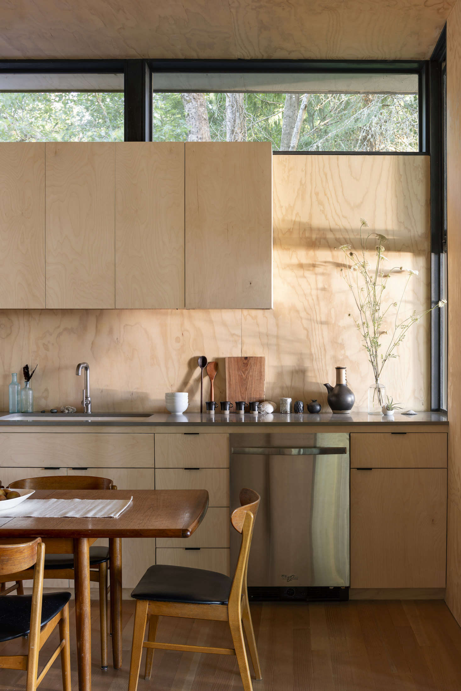 The custom kitchen cabinets are made from birch plywood.