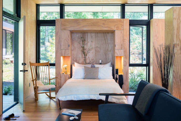 wittman estes integrated the murphy bed into a cabinet with side tables, linen  12
