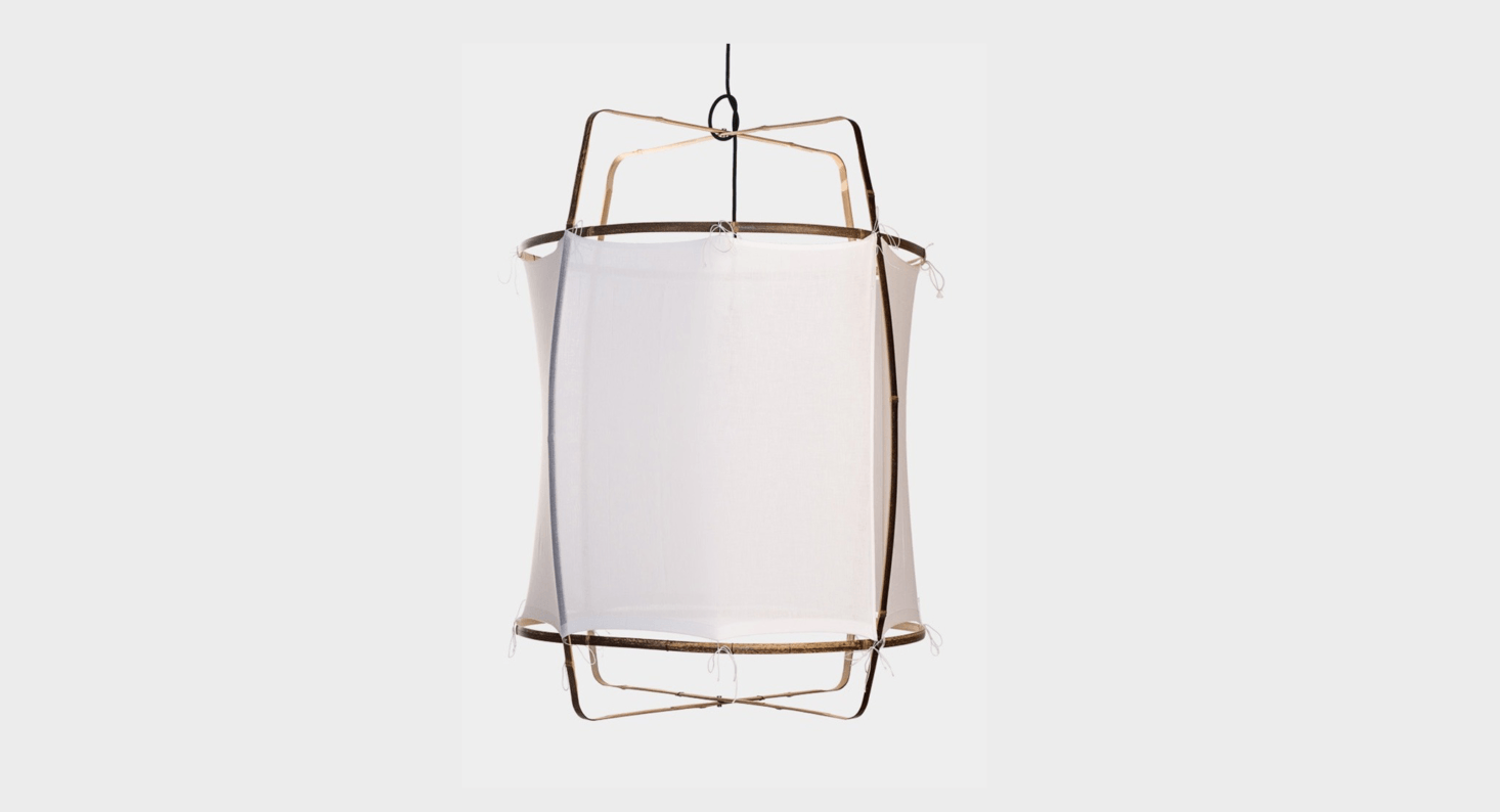 Designed by Ay Lin Heinen and Nelson Sepulveda, the white cotton Ay Illuminate Pendant, with bamboo frame and handwoven cotton khadi shade, is available from Lost & Found in Los Angeles for$src=