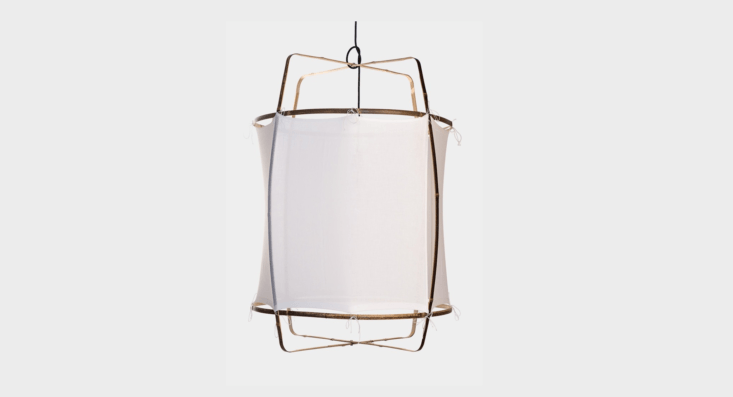 Designed by Ay Lin Heinen and Nelson Sepulveda, the white cotton Ay Illuminate Pendant, with bamboo frame and handwoven cotton khadi shade, is available from Lost & Found in Los Angeles for$loading=