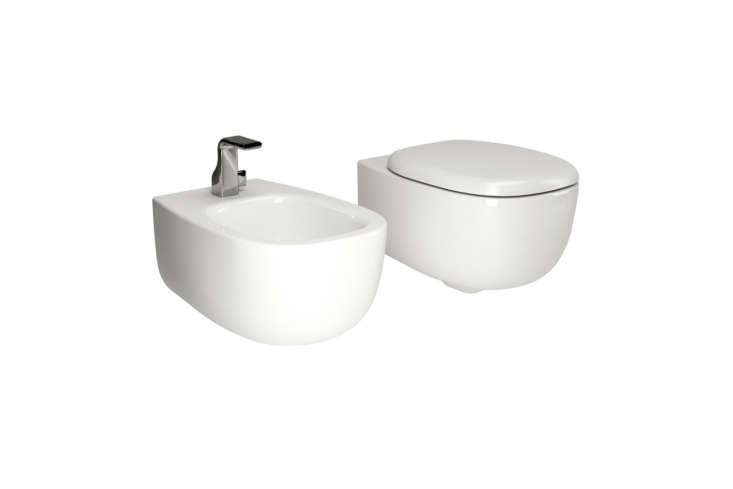 The Bonola WC is designed by Jasper Morrison and is available with a coordinating bidet. Available at Ceramica Flaminia. For more bidets see our post  Easy Pieces: Wall-Mounted Bidets.