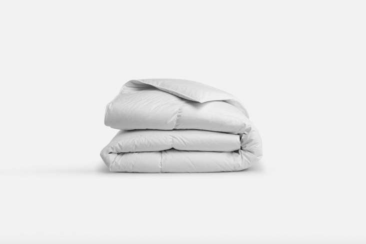 The Brooklinen Down Alternative Comforter, though poly-fill, is made with shaved microfibers to mimic the feeling of down available in lightweight ($9 to $9) and all-season ($9 to $9) at Brooklinen.
