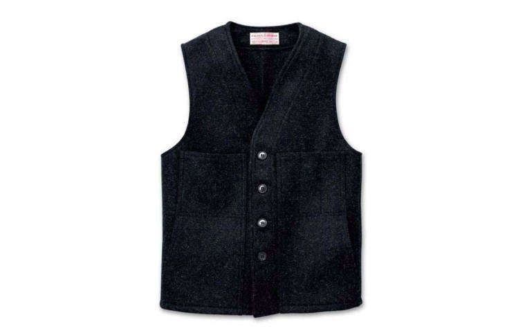 When Julie made a pilgrimage out to Sir and Star, she found herself fixated on the waitstaff uniforms: theFilson Mackinaw Wool Vest is available in charcoal for $0. Made in the US.
