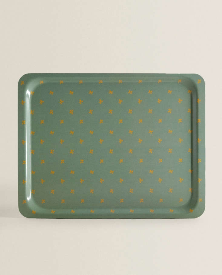 floral tray green zara home