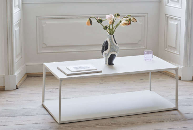 The Hay Eiffel Rectangular Coffee Table in White was designed by Line Depping and Jakob Jørgensen and is made of cast-aluminum frames and powder-coated MDF; $4.75.