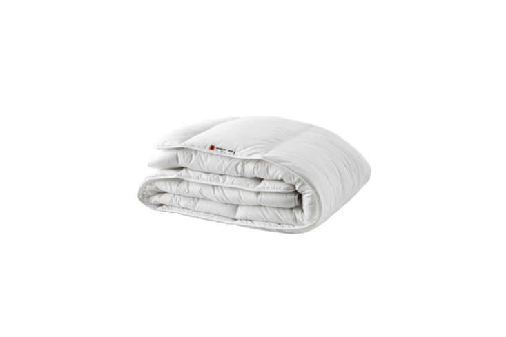 IKEA offers three versions of down alternative inserts, the Grusbald Warmer Comforter (shown) is made with a cotton and polyester blend that is ultra-affordable ($.99 to $35.99). Also at IKEA are the Rödtoppa Comforter ($47.99) and the Glansvide Comforter ($79).