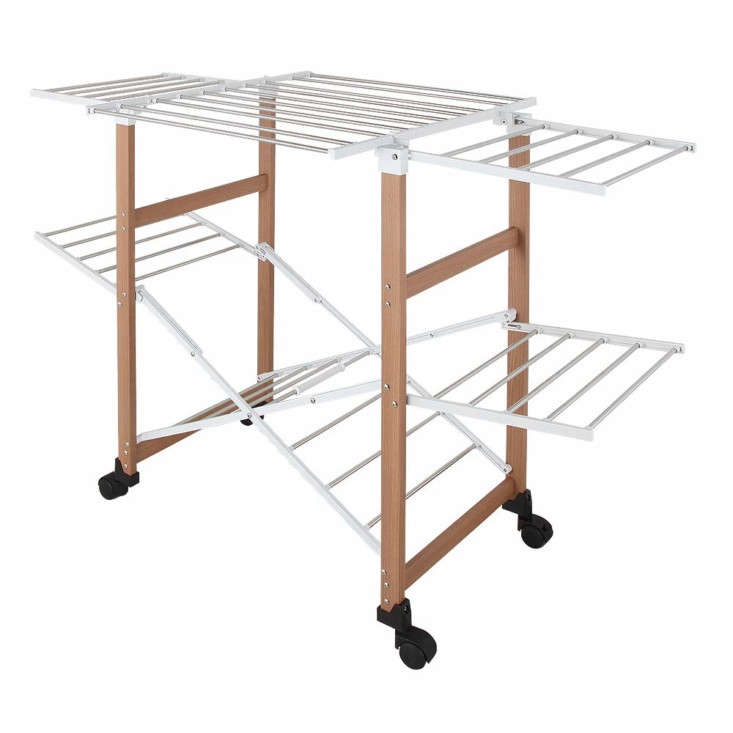 the collapsible jajan laundry drying rack is made of steel and wood (and also c 18