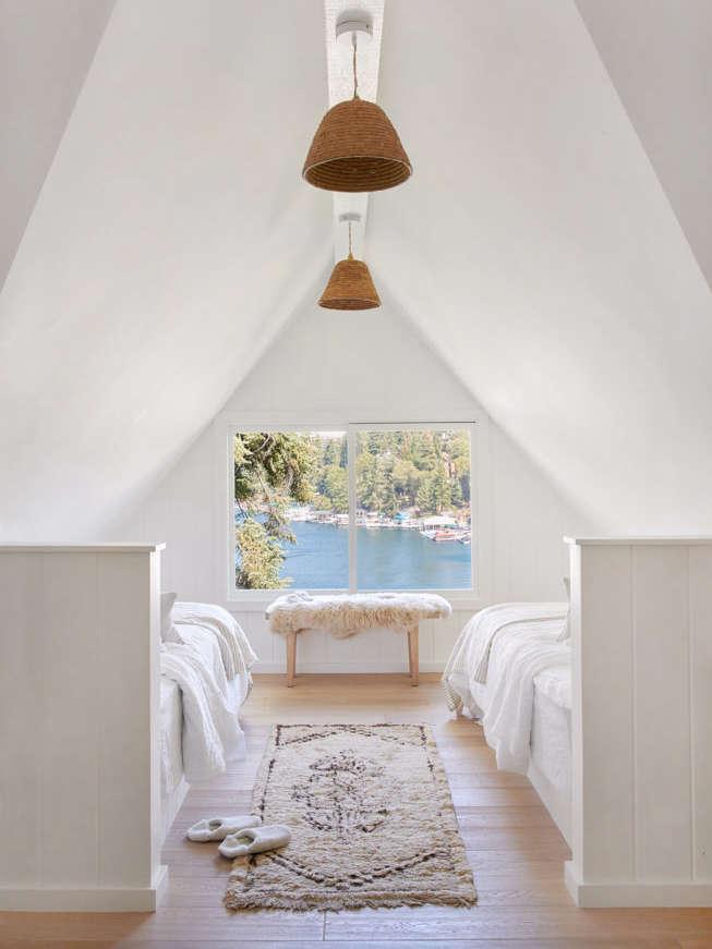 California Style Epitomized An Airy Lakeside House Redone by Jenni Kayne Bedroom in Jenni Kayne Lake House, Photo by Tessa Neustadt