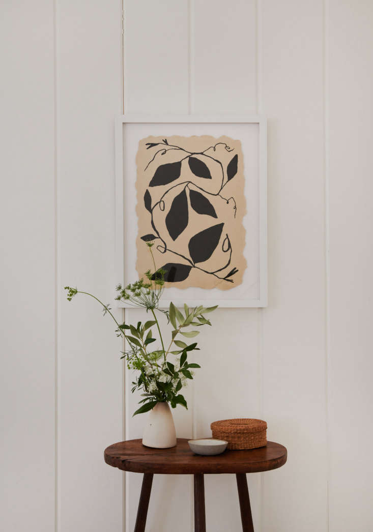 The framed print is by Tennessee-based artist Kate Roebuck via Uprise Art, which provided art throughout the house.
