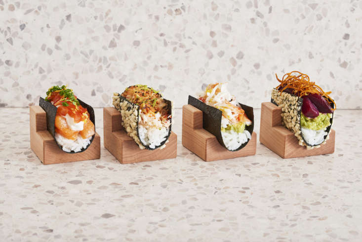 A sampling of the temaki hand rolls. The seaweed acts as the &#8