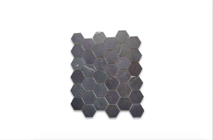 Nero Marquina Black Marble 2-inch Hexagon Mosaic Tile Honed