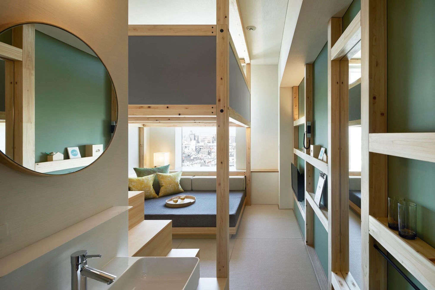 We stayed at the OMO5 Otsukain rooms with lounge areas tucked below elevated beds that felt like indoor treehouses (in a good way). The designers used the side wall to create hanging storage (in lieu of closets) and shallow shelving that I hugely admired. We hope to return.
