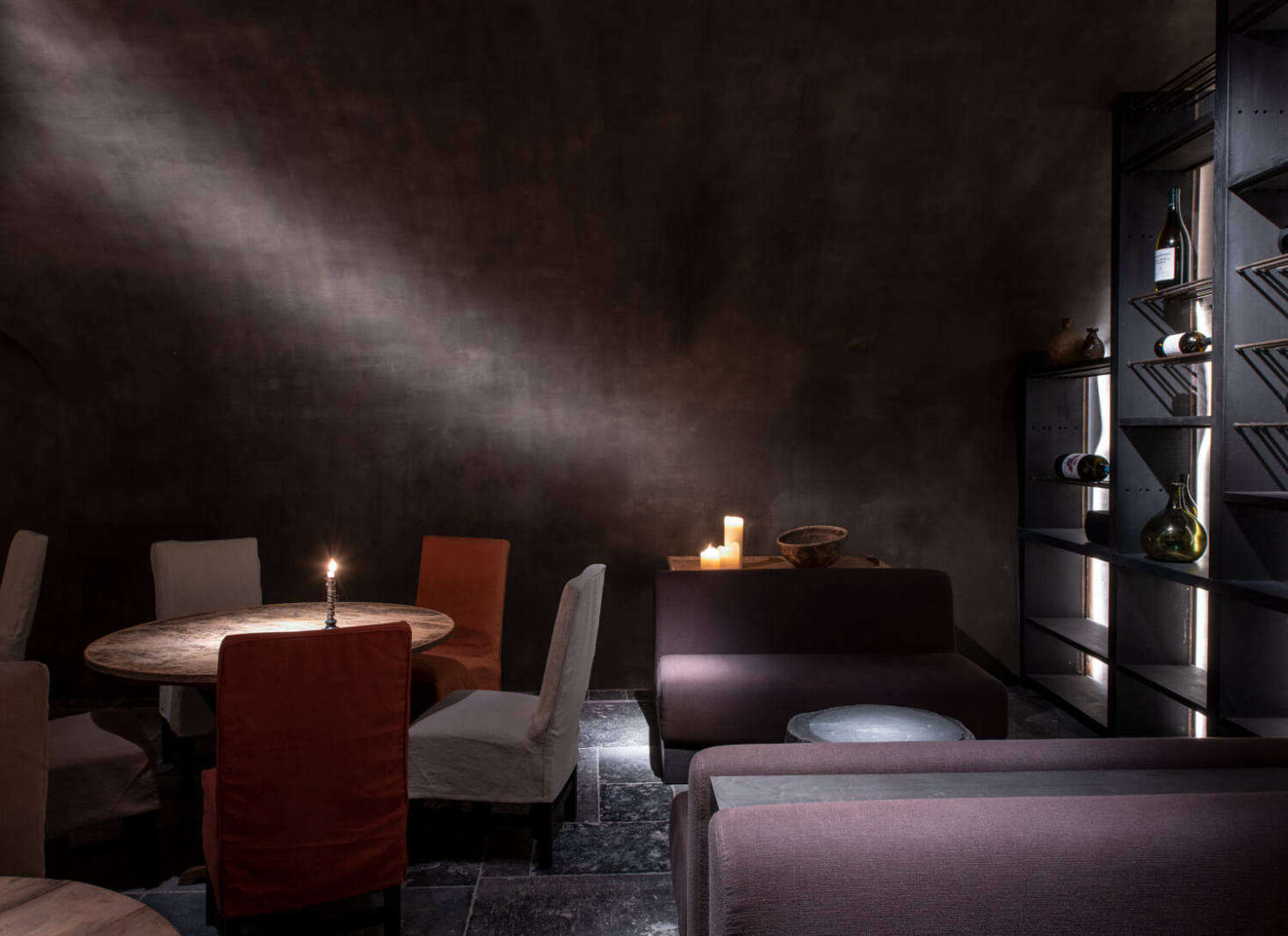 The dining room of the already-Michelin-starred Purs restaurant, presided over by Christian Eckhardt, is appropriately moody and romantic.