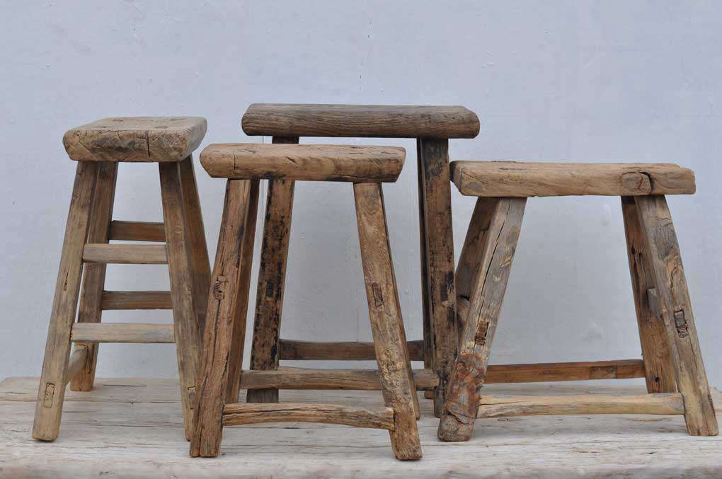 These handmade Rustic Antique Wooden Stools are &#8