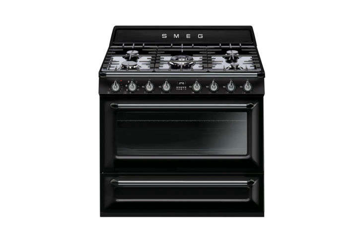 Another style from Smeg, the Victoria 36-Inch 5-Burner Dual Fuel Range in Black (TRU90BL); $4,499 at BBQ Guys.
