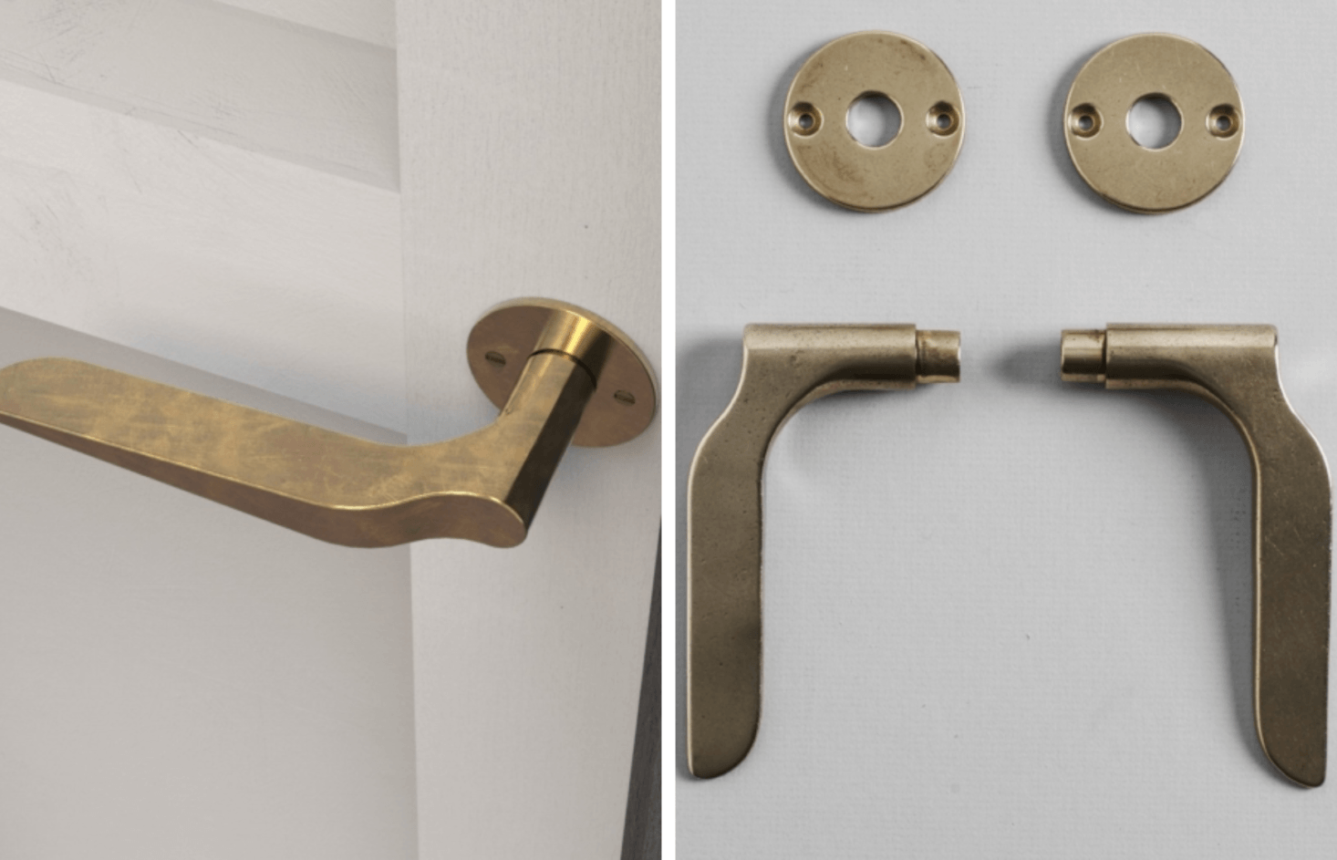 The Palais Lever Handle is available in high tensile brass or aluminum. Each handle is individually cast  from a wax positive, vibration polished, and machined; $3 per set of two handles, including rose.