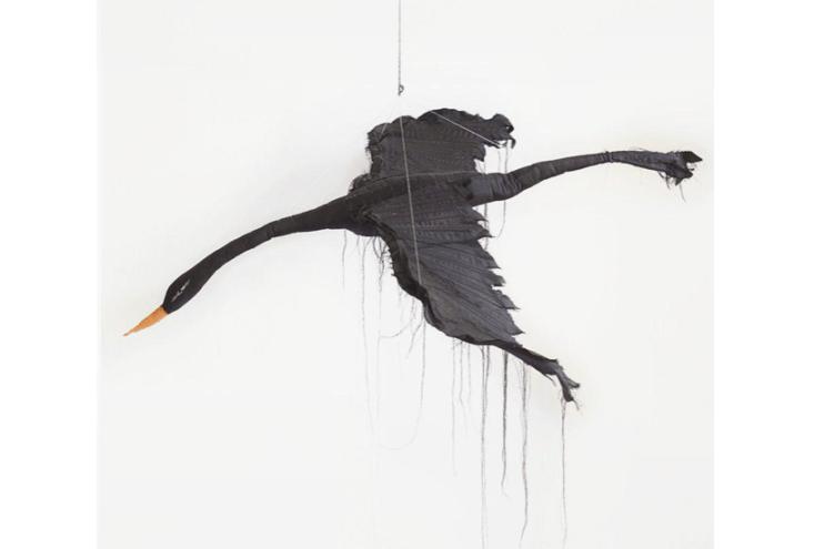 from artist tamar mogendorff, this hand stitched silk flying black bird is deco 14