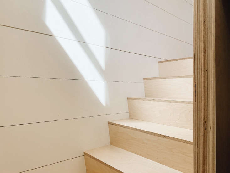 shiplap paneling and birch plywood stairs. note the door frame&#8\2\17;s ex 18