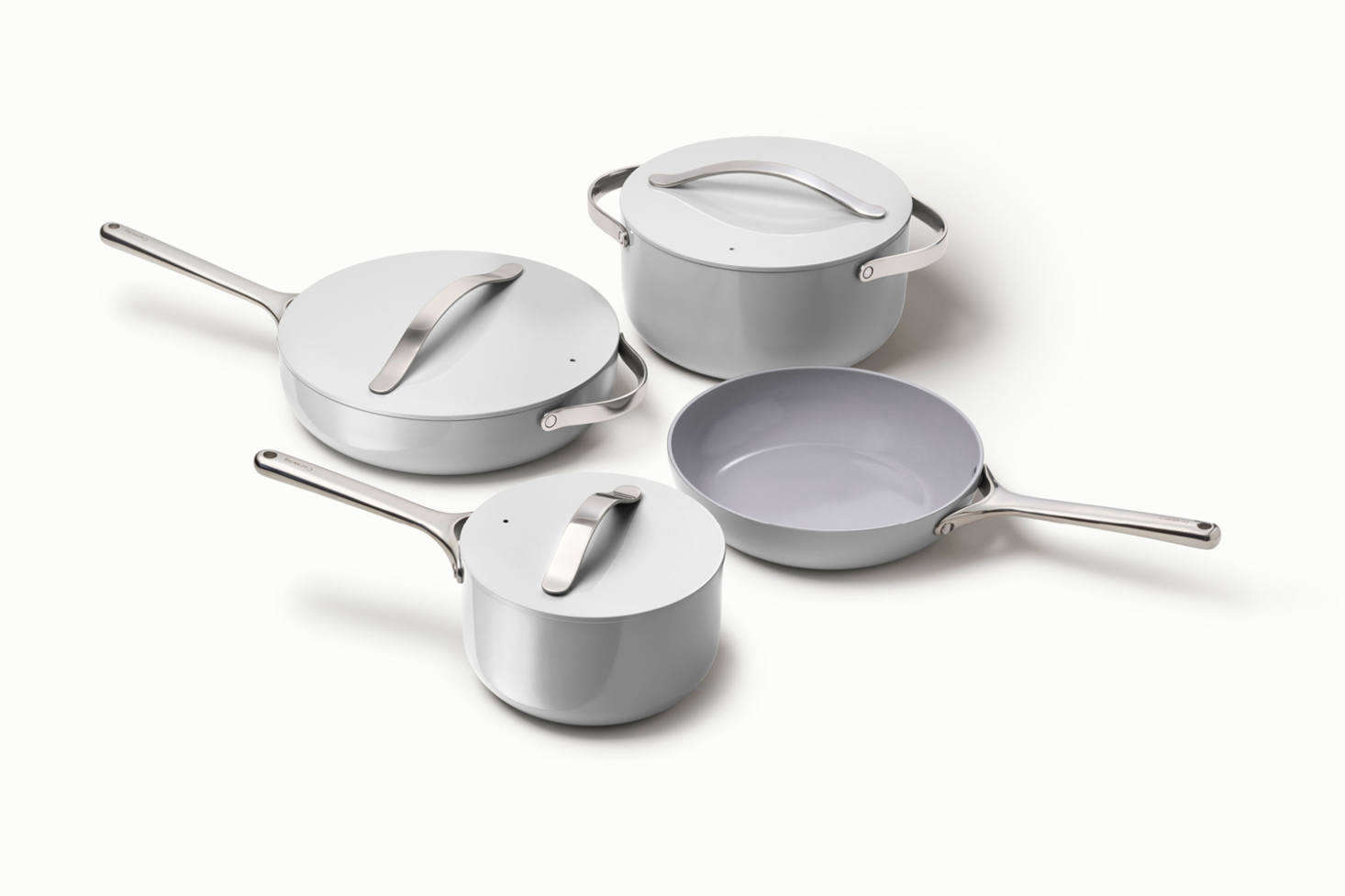 New cookware brand Caraway is focused on healthy, non-toxic cookware. The Caraway Cookware & Cabinet Organizer Set is made up of four ceramic-coated pots and pans made without PFOA, PTFE, lead, cadmium, nickel, or other toxic metals. The ceramic surface is naturally non-stick and pans are are not made by way of a toxic hard anodization process. The set which also includes four magnetic pan racks and a canvas lid holder is $395 at Caraway. [Caraway let us know that with the code REMODELISTA, Remodelista readers receive -percent off the set.)