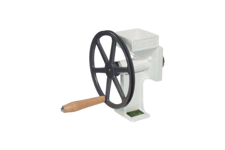 the country living grain mill is made with high carbon steel grinding plates, a 19