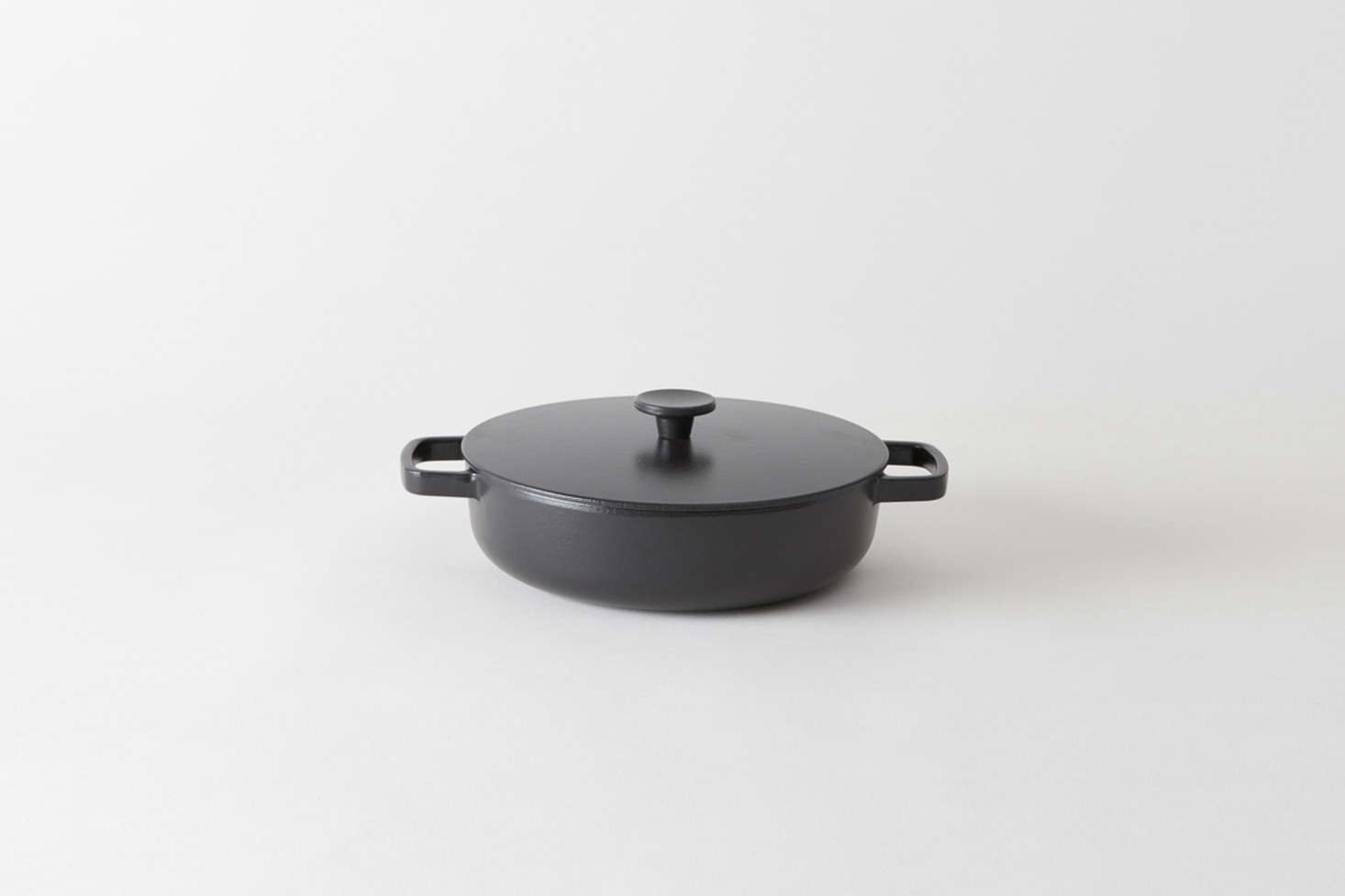 We like the cookware from British brand Crane whose cast iron pans are finished with matte black enamel inside and out. Free of cadmium, lead, PFOA, and PTFE, the enamel-finished cast iron is resistance to thermal shocks and scratches. Shown here is the Crane Cookware Frying Pan ($5) available along with the Crane Cookware Saute Pan ($