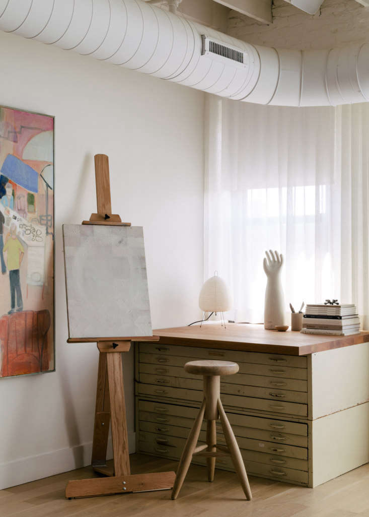 in a corner of the open living area is a vintage flat file, a \$50 craigslist f 11