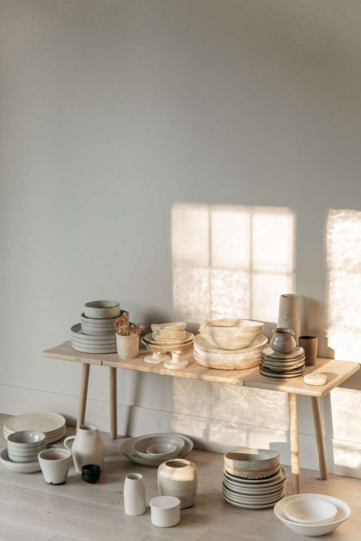 Beautiful light refracted through the antique windows. The Georg Bench is from Skagerak Denmark