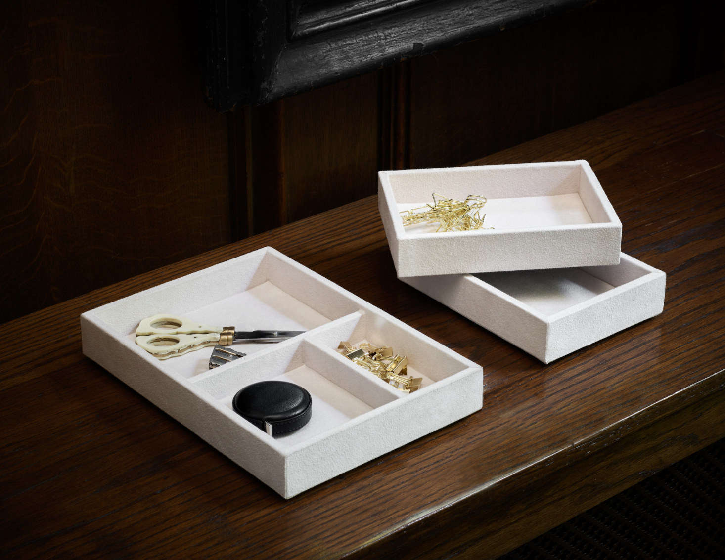 The Stackable Valet Tray is available in chalk or black; $40 for the smaller size and $60 for the larger.