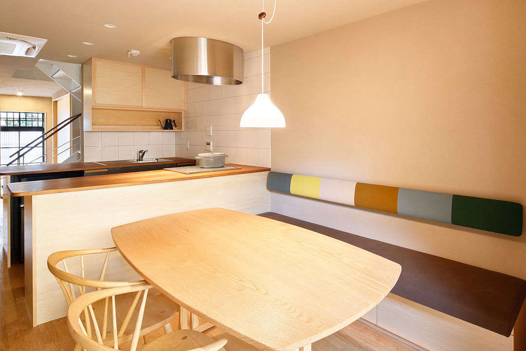 The kitchen comes with aMinä Perhonen banquette. The house has two bedrooms—two single beds and two futons—and sleeps four.