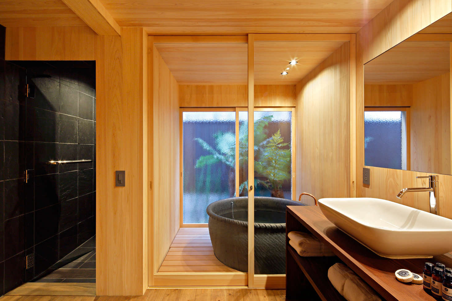 The No.5 bath with tiled shower and indoor-outdoor soaking tub.
