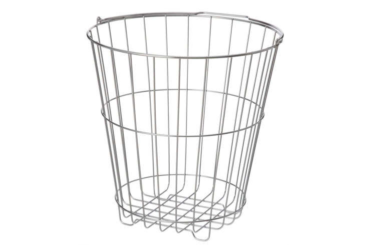 abov: a muji basic, thestainless steel laundry basketcomes in two sizes: \$ 14