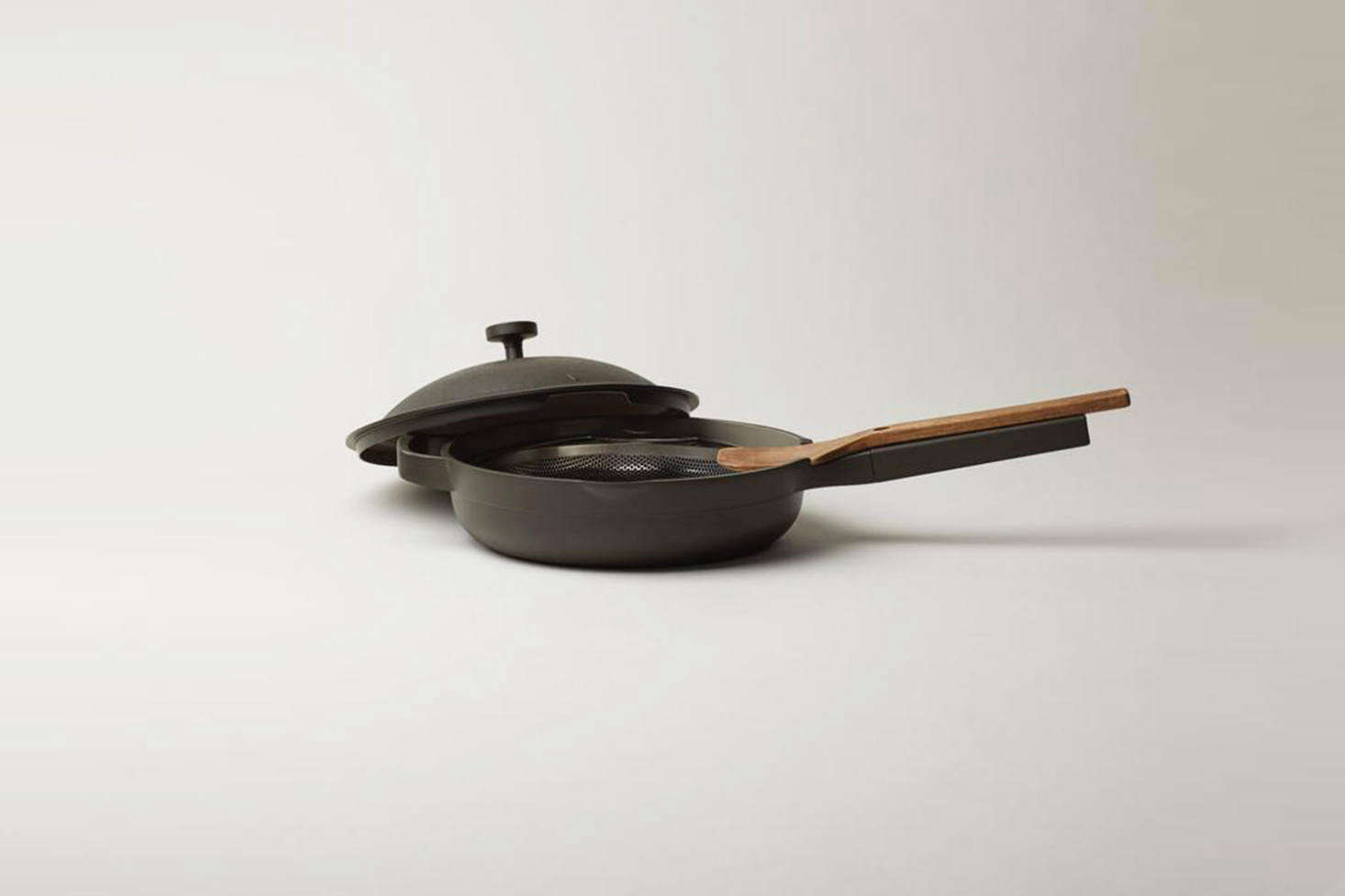 "The Always Pan from new Los Angeles-based brand Our Place is appealing for its looks and all-in-one cooking capability. It is non-stick but coated with, as the company says, a ""responsible PTFE- and PFAS-free  non-stick ceramic coating."" The core of the pan is made of heavy aluminum but as it's coated with a thin ceramic coating, no aluminum comes into contact with food. The Always Pan is $5 at Our Place."