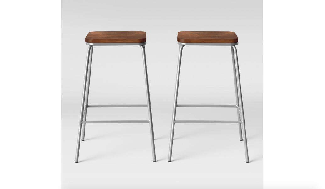 The Rhodes Metal and Wood Seat Square Counter Stool by Project 6