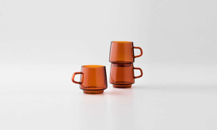 the newly released amber glass mug (\$\24 each) is made of heat resistant glass 10