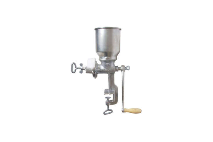 the victoria grain mill is a traditional hand operated mill that attaches to a  20