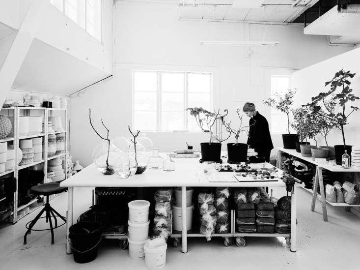 Carina at work in her Gustavsberg studio.