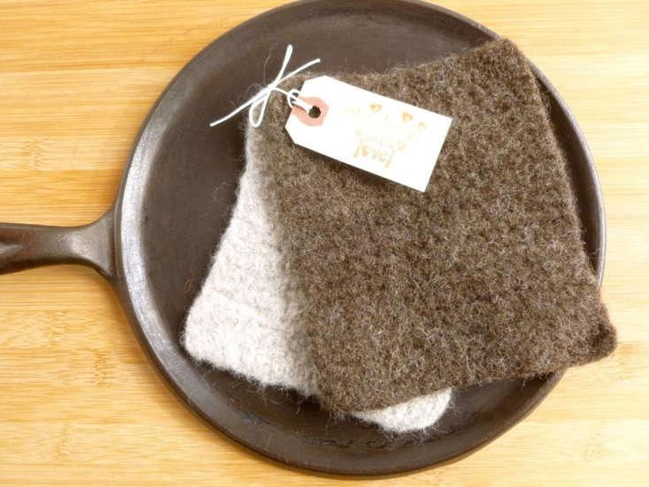 soft and sturdy felted wool scrubbing pads—one oatmeal, one brown—are \$8 f 11