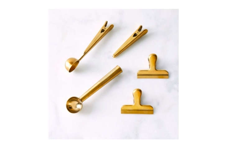 the gold coffee, tea, & organization clip set by maison plus is \$40 at foo 23