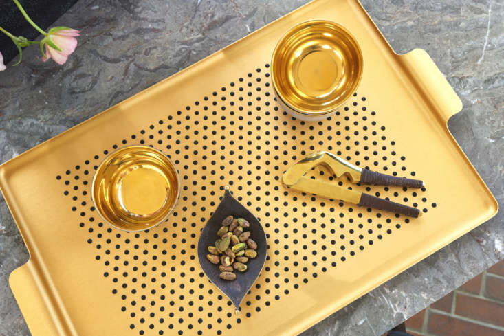 Made of aluminum, the Kaymet Pressed Tray with Dot Grips (from $loading=