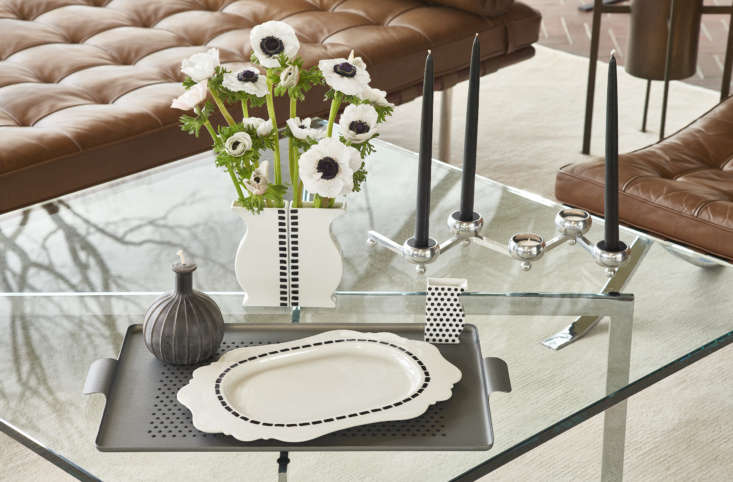 Designed by Paola Navone for renowned German porcelain maker Porzellanmanufaktur Reichenbach, the black and white Dash Serving Platter (center, $loading=