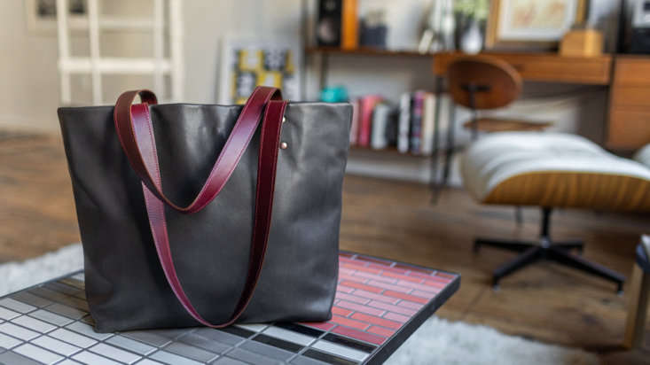 The Heath Leather Tote in Kelp. The totes are made one by one in Heath&#8