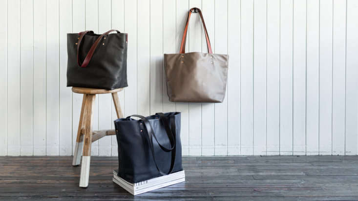 The three Heath Leather Totes, in Kelp (left), deep blue Midnight (center), and Barley (right), all built to last and endlessly usable.