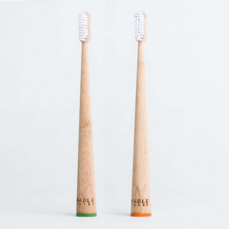 made of sustainably harvested (and biodegradable) bamboo, mable toothbrushes ar 16
