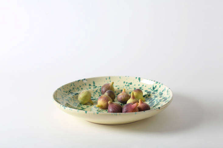 The Puglia-made splatterware at March in San Francisco is available in a wide range of color combinations. Shown here is the Green on Cream  Inch Splatterware Platter for $loading=