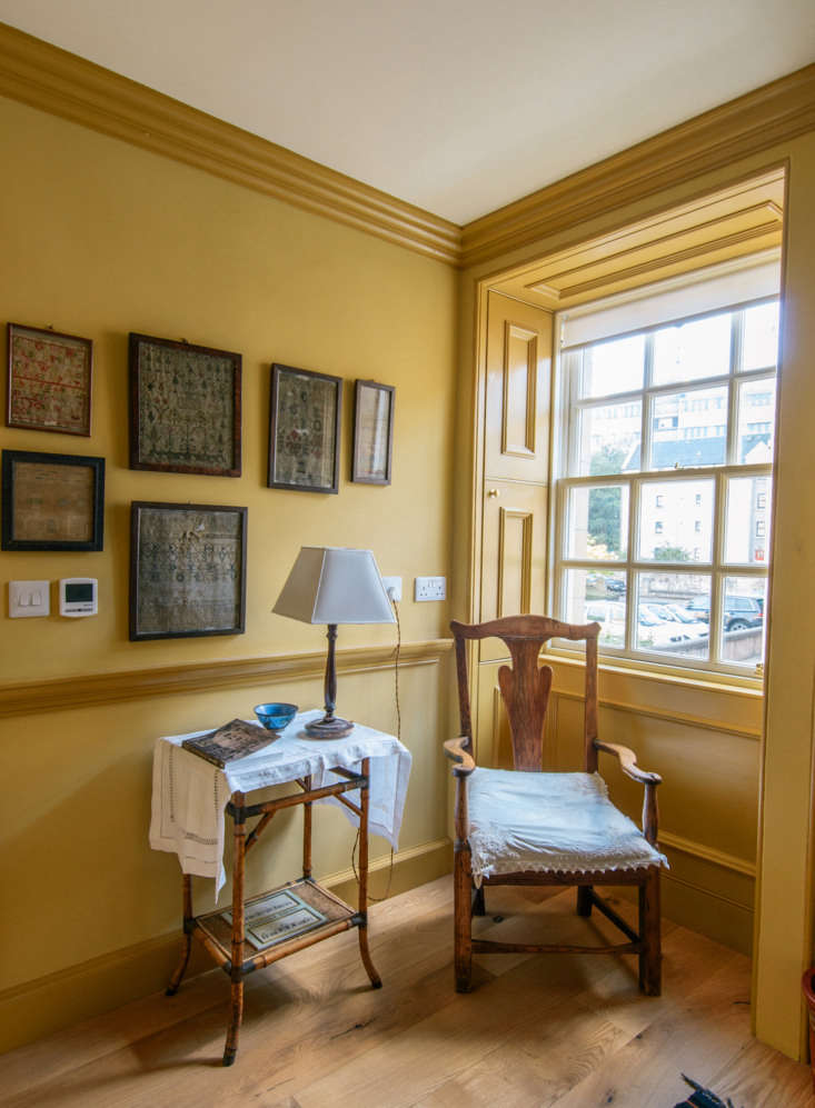 The guesthouse is minimally decorated with antique finds.