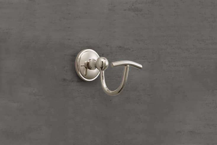 the restoration hardware chatham single hook is available in five finishes; \$3 14