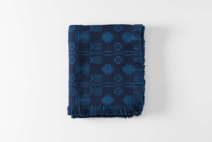 Hand-loomed Merino wool blankets and throws from RP Miller are inspired by archival textile patterns and available at MARCH. The RP Miller Indigo Sturbridge Throw is $900 at MARCH.